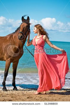 Model with horse at water's edge