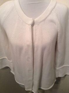 J Jill Womens White Cardigan Sweater Snap Buttons Small #JJill #Cardigan