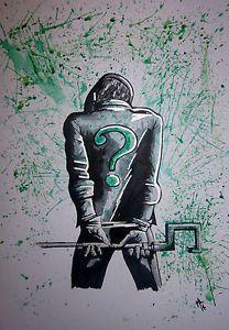 riddler,comic,art,painting,watercolour,mixed media,a4 card,drawing,sketch,batman Batman Arkham City, Gotham, Comic Books Art, Comic Art, Dc Comics, Batman Tattoo, Best Villains, Famous Cartoons, Card Drawing
