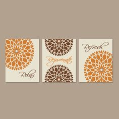 Modern Floral Flower Flourish Artwork Set Of 3 Trio Prints Relax Rejuvenate  Refresh Burnt Orange Wall