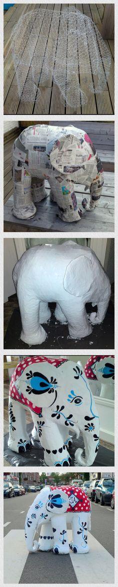 Zo maak je een olifant van papier maché. Paper mache Elephant