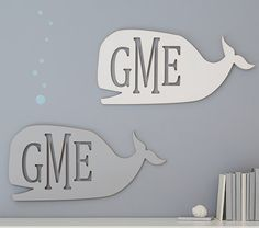 Whale Monogram Cut Out Plaque | Pottery Barn Kids  In Aqua!!