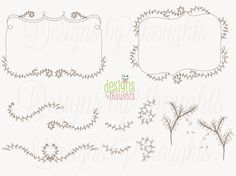 Dainty Vines & Leaf Frames and Doodles - Digital graphics for your paper crafts and design. Vector file incl. INSTANT Download via Etsy. $5.50, via Etsy.