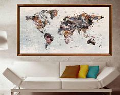 This item is unavailable Large World Map Poster, Framed World Map, World Map Canvas, World Map Wall Art, World Map With Pins, Large Canvas Prints, Thing 1, Extra Large Wall Art, Custom Art