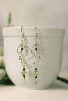 Green and Silver earrings  Silverfilled wire by littletreeofjewels, $21.00