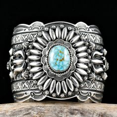Cuff | Darryl Becenti (Navajo). 'Glory Hallelujah'.  Sterling silver and natural Birdseye Kingman Turquoise.