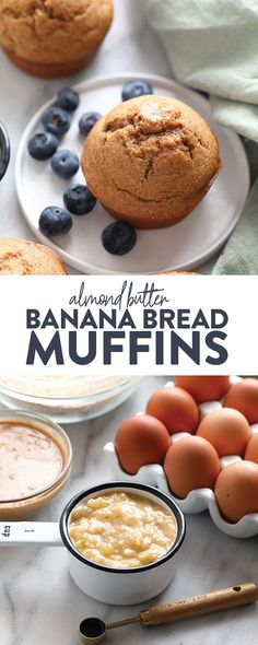 You're going to love our almond butter banana bread muffins! These healthy muffins are made with whole grains, 2 ripe bananas, coconut milk, and all-natural sugar from coconut sugar! Healthy Banana Recipes, Healthy Banana Bread, Healthy Muffins, Banana Bread Recipes, Healthy Dessert Recipes, Healthy Baking, Baking Recipes, Breakfast And Brunch, Breakfast Ideas