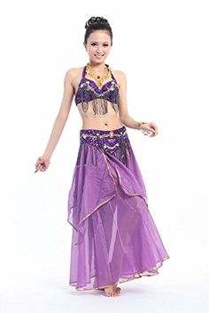 0aac32a39f Amazon.com: Beverly Women's Tassel Bet Belly Dance Costume Set, 6 Pieces  (purple): Clothing