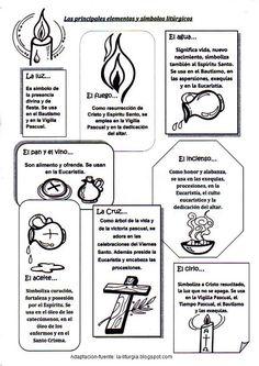 ¿Qué significado tiene el incienso? Colorea los principales elementos y símbolos litúrgicos y lee lo que simboliza cada uno de ellos: ...