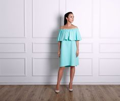 Off the shoulder turquoise dress. This ruffled stretch-crepe dress has an off-the-shoulder silhouette that beautifully highlights the décolletage. It has an easy loose fit. Off the shoulder neckline is highlighted by flouncy ruffles. Crepe Dress, Ruffle Dress, Ruffles, Turquoise Dress, Cotton Dresses, Loose Fit, Off The Shoulder, Highlights, Kids Fashion