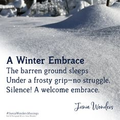 In my part of the world, winter has well and truly settled in. The ground is covered in a blanket of snow. The trees in deep slumber are silent and majestic, looking picture perfect for postcards. The world always becomes quieter when the earth is cloaked in snow. I revel in that silence. It is a gift. It allows the mind to drift to faraway places—places where new stories begin to unfold. A magical experience to behold. What do you like about winter? #poetry #poetrycommunity #haiku #poem #poe Haiku Poem, Postcards, How To Find Out, Poems, Earth, Snow, Deep, Blanket, Winter