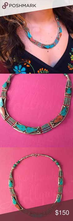 Tibetan Silver Boho Necklace Beautiful piece. Tibetan Silver, inlaid coral and turquoise mosaic. Artisan Jewelry Necklaces