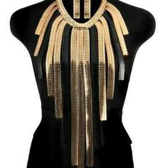 Herringbone Tassel Necklace 17 Inches Long +/3 inches Extension Black &/Gold Jewelry Necklaces