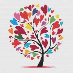 Hearts Modern Cross Stitch Pattern PDF Chart Instant Download Colorful Hearts with Tree Valentine's Day by cecilia