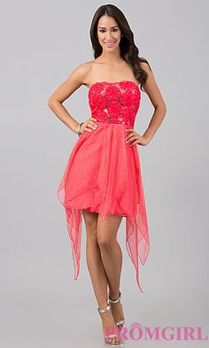 Pink High Low Strapless Dress ($19 at PromGirl.com)