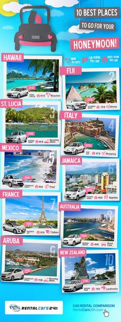 10 Best Places To Go For Your Honeymoon!   #Honeymoon #Travel  #infographic