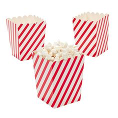 """Mini Red & White Striped Popcorn Boxes. Not just for popcorn, these paper boxes are perfect for giving away all sorts of goodies. 3"""" x 3"""" x 4"""" (2 dozen per set) Simple assembly required.  © OTC"""