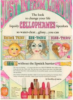 Just In From London ~  Yardley Cellophanes cosmetics ad, 1969