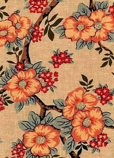 "Cherry Blossom Orange.  100% linen fabric - World Linen Fabric - Beautiful natural fiber decorator fabric. Perfect for drapery panels, light use upholstery, pillow covers, top of the bed or slipcovers. Screen printed and finished in the USA. Repeat; V 24"" x H 24"" Dry clean recommended. 56"" wide."