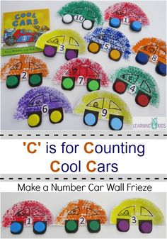 Car Craft & Number Wall Frieze to go with Book, Cool Cars by Tony Mitton (from Learning 4 Kids)
