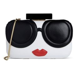 Alice+Olivia Clutch (510 PAB) ❤ liked on Polyvore featuring bags, handbags, clutches, bolsas, white, mini handbags, white hand bags, white leather purse, mini purse and white clutches