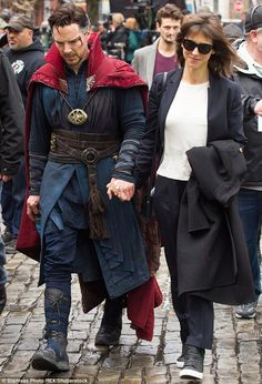 Standing by her man: Benedict Cumberbatch was treated like a true hero by his wife Sophie when he wrapped up a high-octane action scene on-location in New York, on Saturday