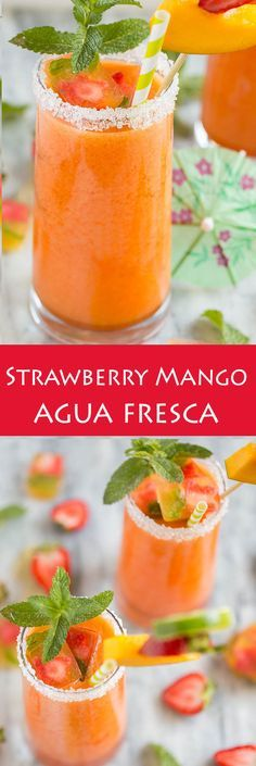 Strawberry mango agua fresca is the perfect light and refreshing drink. Strawberry mango agua fresca is the perfect light and refreshing drink. Fruit Drinks, Smoothie Drinks, Non Alcoholic Drinks, Cocktail Drinks, Healthy Smoothies, Healthy Drinks, Smoothie Recipes, Fresca Drinks, Mango Drinks