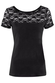ROMWE | Hollow Floral Lace Black T-shirt, The Latest Street Fashion #ROMWEROCOCO