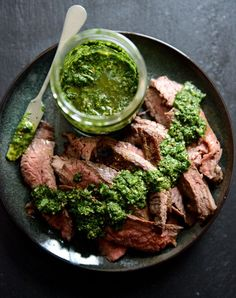 Flank Steak with Chimichurri. Garlic brown sugar flank steak with chimichurri Flank Steak Chimichurri, Cilantro Chimichurri, Beef Recipes, Low Carb Recipes, Cooking Recipes, Healthy Recipes, Sauce Recipes, Delicious Recipes, Cooking Ribs