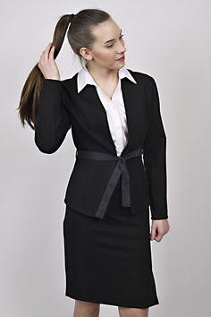 business look, black jacket, white shirt, reception, management, uniform, uniforms Business Look, Peplum Dress, Reception, Management, Jackets, Shirts, Black, Dresses, Design