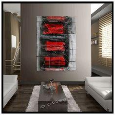 Rojo negro blanco gran pintura Original abstractos arte pintura al óleo moderna, Original firmado y fecha, arte contemporáneo de gran tamaño arte lienzo