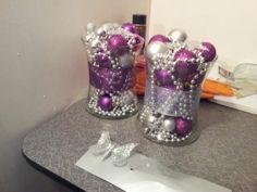 Oranament Centerpieces :  wedding purple reception silver   2012 11 27