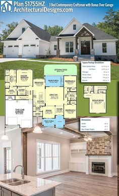 Architectural Designs House Plan 51755HZ is a 3 bed contemporary Craftsman design with a bonus room with bath over the garage, giving you the flexibility to get 4 beds if needed. The home has 1,800+ square feet of heated living space plus the bonus room. More photos online.Ready when you are. Where do YOU want to build?