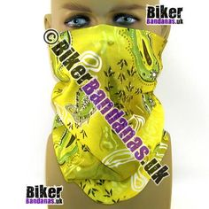 Yellow and Green Paisley Flower Multifunctional Headwear / Neck Tube Bandana.  One of over 400 Styles for Men and Women
