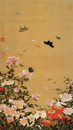 Itō Jakuchū(伊藤若冲 Japanese, 1716-1800) Peony flower & butterflies   芍薬群蝶図 1757 ink and color on silk More Itō Jakuchū
