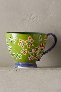 """Anthropologie EU Garden Floral Mug """"You suit me to a tea""""."""