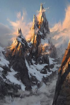 Concept art by The FifthMore concept art here. Fantasy Artwork, Fantasy Concept Art, Landscape Concept, Fantasy Landscape, Landscape Art, Fantasy Places, Fantasy World, Fantasy Setting, Mountain Paintings
