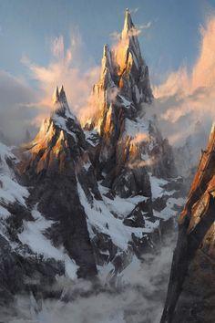 Concept art by The FifthMore concept art here. Fantasy Artwork, Fantasy Concept Art, Landscape Concept, Fantasy Landscape, Landscape Art, Fantasy Places, Fantasy World, Art Environnemental, Fantasy Setting