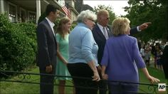 "STEADY AS SHE GOES: Hillary Holds Onto Railing, Table, Chair During Home Visit | 8.16.16 |""Hillary Clinton sought out the stability of just about anything during a visit to Joe Biden's Scranton, Pennsylvania boyhood home. Video from Clinton's appearance showed her grasping for a railing, a chair and the kitchen table on Monday. Standing outside the home, Clinton embraced the owner with one arm while holding onto the railing on on the front walk."""