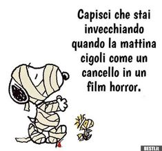 Capisci che stai invecchiando Snoopy Love, Snoopy And Woodstock, Famous Phrases, Good Doctor, Peanuts Gang, More Than Words, Hilarious, Funny, Emoticon