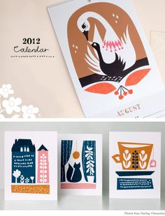Today I'm loving the latest offerings from one of my favorite paper goods designers, Darling Clementine. Their 2012 Calendar would be the perfect gift for a few people on my list this (rapidly approaching) holiday season.