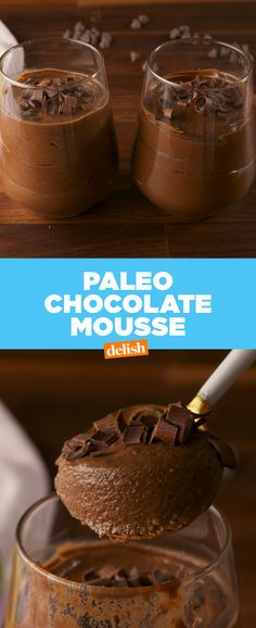 This dessert tastes just like chocolate pudding — only WAY healthier. Get the recipe at Delish.com. #recipe #easyrecipe #chocolate #mousse #dessert #sweet #avocado #paleo #paleodiet #paleofriendly #honey