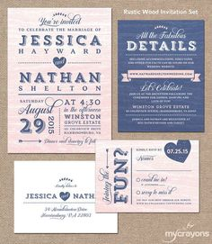 Rustic Wood Wedding Invitation by MyCrayons // Modern Wedding Invitation, Navy and Pink Wedding Invite
