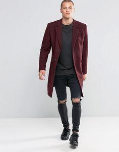 ASOS   ASOS Wool Mix Overcoat In Burgundy