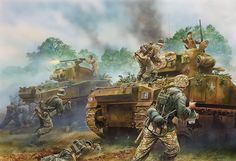 The final high-res picture cover for Armoured Hussars 2 by Peter Dennis - 1700 hrs, 20 August 1944. Panzergrenadiers from 2. SS-Panzerdivision das Reich, in a desperate attempt to break through to their trapped comrades inside the Falaise Pocket, try to overrun the Sherman tanks from the 1st Squadron, 2nd Armoured Regiment.