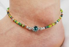 Anklet, Ankle Bracelet Emerald, Multi Color Beaded Crystal Donut and Czech Glass, Customizable, Vacation, Beach, Cruise