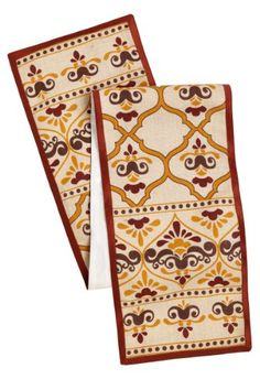 Cotton Craft - Moroccan Tile with Crown Jute Table Runner - 13x72 - Gold Rust on Ivory Jute - Perfect accessory to dress up your dinner table - Spot Clean Only Cotton Craft http://www.amazon.com/dp/B00JN5NAZ0/ref=cm_sw_r_pi_dp_mFBuvb1T1CWQE