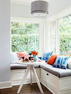 Tiny breakfast nook with L-shaped banquette!