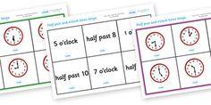 Half Past and O Clock Time Bingo - Time bingo, time game, Time resource, Time vocaulary, clock face, Oclock, half past, quarter past, quarter to, shapes spaces measures