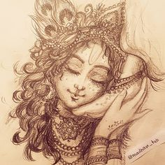 Art Work by Madhavi Tuli 🌸🌌❤️ Art Work Credi Krishna Tattoo, Krishna Drawing, Krishna Painting, Cute Krishna, Radha Krishna Photo, Krishna Art, Lord Krishna Images, Radha Krishna Images, Shiva Art